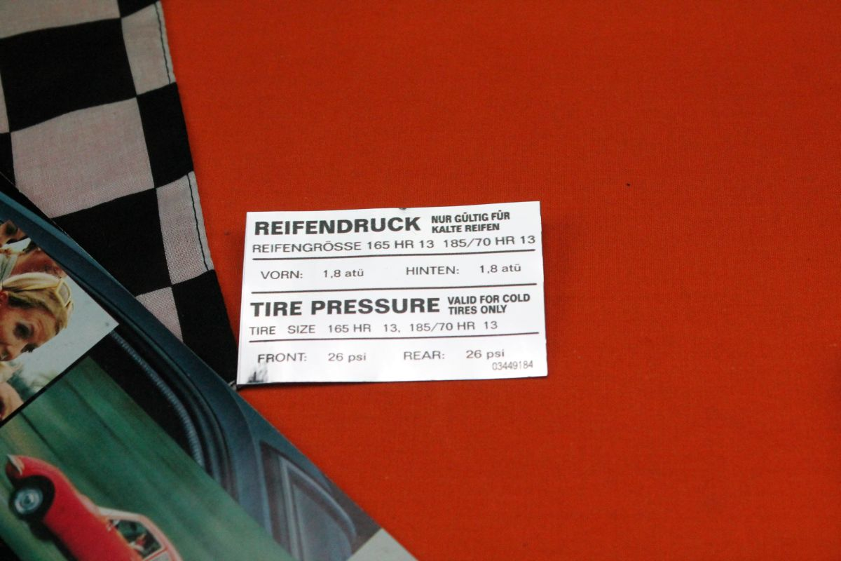 Opel GT Tire Pressure Sticker